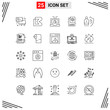 25 Icons Line Style. Grid Based Creative Outline Symbols for Website Design. Simple Line Icon Signs Isolated on White Background. 25 Icon Set.