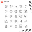 Collection of 25 Vector Icons in Line style. Pixle Perfect Outline Symbols for Web and Mobile. Line Icon Signs on White Background. 25 Icons.