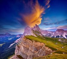 Amazing View On Seceda Peak. T...