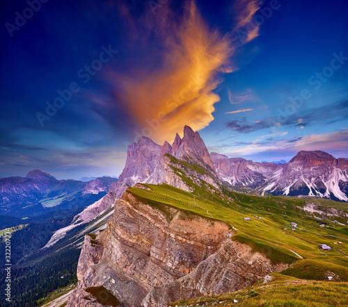 Amazing view on Seceda peak Canvas Print