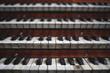canvas print picture - Keys on a big old brown church organ