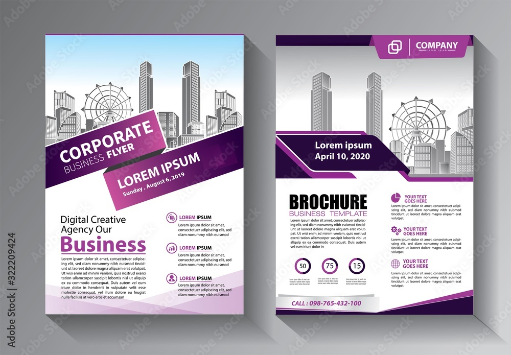 Fototapeta Business abstract vector template. Brochure design, cover modern layout, annual report, poster, flyer in A4 with colorful triangles, geometric shapes for tech, science, market with light background