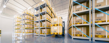 Warehouse Or Industry Building Interior. Known As Distribution Center And Retail Warehouse. Part Of Storage And Shipping System. Included Box Package, Shelf, Forklift And Concrete Floor. 3d Render.