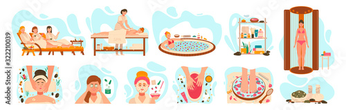 Fototapeta Women in spa center, wellness beauty salon procedures, vector illustration. Professional skin care and body treatment in spa salon, relaxing cosmetic procedures. Woman in luxury wellness center obraz