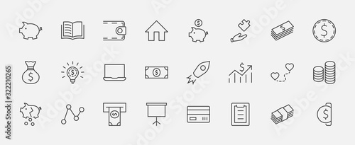 Fotografía Set of Money Related Vector Line Icons