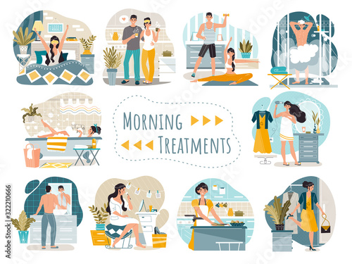 Fotografie, Tablou Daily morning routine of man and woman cartoon characters, vector illustration