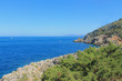 View of Tirrenic sea with rocks and vegetation. Monte Argentario, Tuscany, Italy