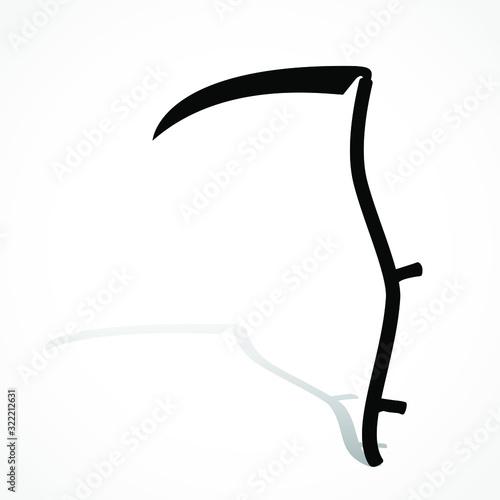 Cuadros en Lienzo silhouette scythe with shadow/