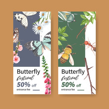 Insect And Bird Flyer Design With Butterfly, Hollyhock, Beetle Watercolor Illustration.