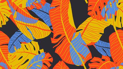 Botanical seamless pattern, various hand drawn leaves on dark grey