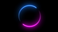 Round Circle Picture Frame With Two Tone Neon Color Shade Motion Graphic On Isolated Black Background. Blue And Pink Light Moving For Overlay Element. 3D Illustration Rendering. Empty Space In Middle