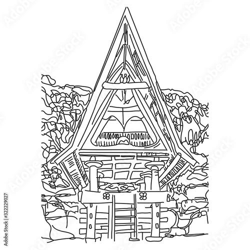Bataknese Traditional House Wallpaper Mural