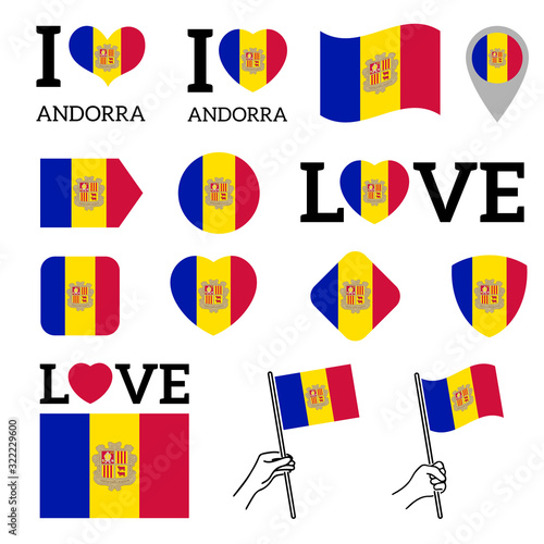 Photo Flag of Andorra. Set of vector Flags