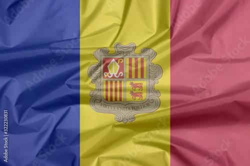 Photo Crease of Andorra fabric flag background