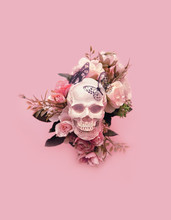 Skull With Flowers And Butterf...