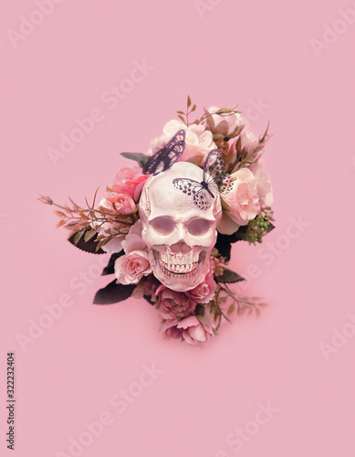 skull with flowers and butterflies on pink background Wallpaper Mural