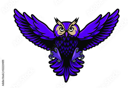 Fotografie, Tablou bird owl esport gaming mascot logo template