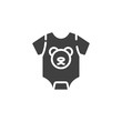 Baby clothing bodysuit with bear print vector icon. filled flat sign for mobile concept and web design. Infant romper glyph icon. Symbol, logo illustration. Vector graphics