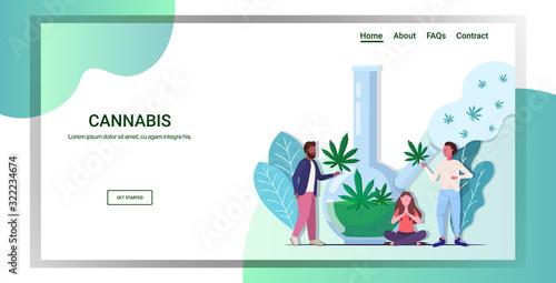 mix race people smoking cannabis marijuana with bong drug consumption concept fu Canvas Print