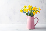 Beautiful spring composition with daffodil flowers in vase on white background. Woman day holiday greeting card.