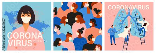 Obraz Coronavirus in China. Novel coronavirus, people in white medical face mask. Concept set of coronavirus quarantine illustration. - fototapety do salonu