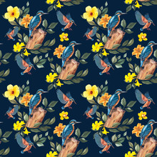 Seamless Pattern. Kingfisher In A Tropical Garden.  Realistic Botanical Illustration