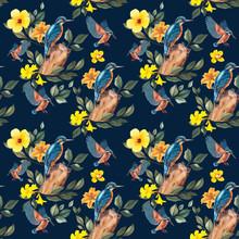 Seamless Pattern. Kingfisher I...