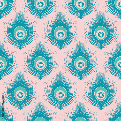 Tapety turkusowe  peacock-feather-seamless-vector-pattern-design-background