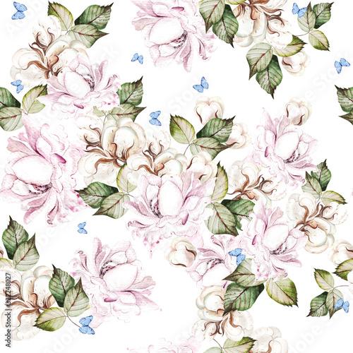 piekny-wzor-akwarela-z-kwiatami-bawelny-i-roz