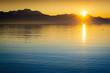 canvas print picture - See und Berge im Sonnenuntergang - Abend am Chiemsee