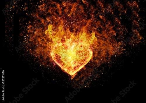 Photo 抽象的なハートの形の炎