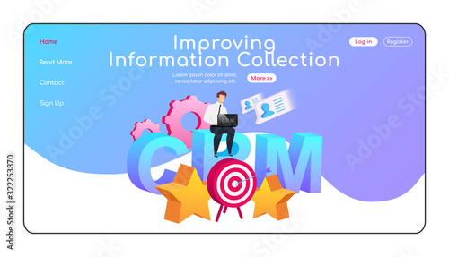 Improving information collection landing page flat color vector template Canvas Print