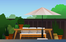 Summer Terrace With Garden View, Greenery, Fence, Awning, Bench, Flower Pots