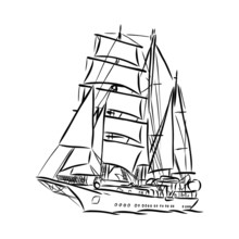 Vector Illustration Of A Ship
