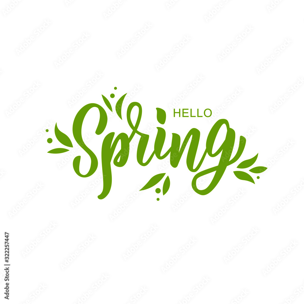 Hello spring hand lettering text as logotype, badge and icon, postcard, card, invitation, banner template. Special spring sale typography poster. Vector illustration. <span>plik: #322257447 | autor: Дарья Михайлова</span>
