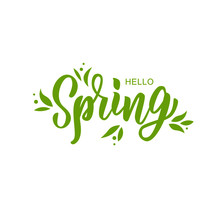 Hello Spring Hand Lettering Te...