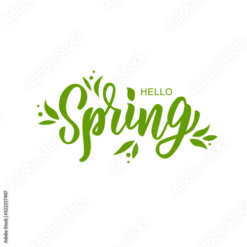 Obraz Hello spring hand lettering text as logotype, badge and icon, postcard, card, invitation, banner template. Special spring sale typography poster. Vector illustration. - fototapety do salonu