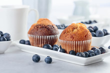 Muffins And Blueberry On White...