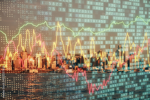 Fototapeta Forex chart on cityscape with tall buildings background multi exposure. Financial research concept. obraz
