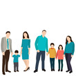 vector, isolated, silhouette family, flat style