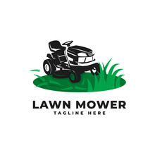 Lawn Mower With Engine Tractor Logo Vector Icon Illustration