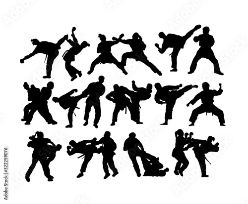 Photo Wrestling and Boxing Silhouettes, art vector design
