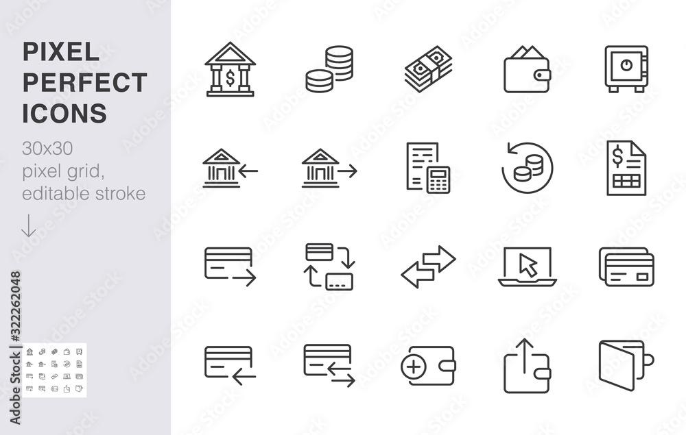 Fototapeta Finance line icon set. Money transfer, bank account, credit card payment cash back minimal vector illustration. Simple outline sign for online banking application. 30x30 Pixel Perfect Editable Stroke