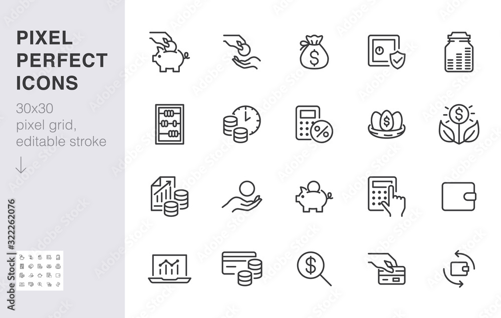 Fototapeta Money income line icon set. Pension fund, profit growth, piggy bank, finance capital minimal vector illustration. Simple outline signs for investment application. 30x30 Pixel Perfect Editable Strokes