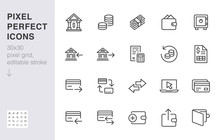 Finance Line Icon Set. Money T...