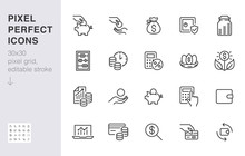 Money Income Line Icon Set. Pe...