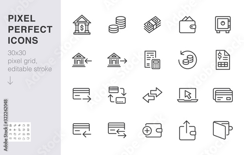 Fototapeta Finance line icon set. Money transfer, bank account, credit card payment cash back minimal vector illustration. Simple outline sign for online banking application. 30x30 Pixel Perfect Editable Stroke obraz