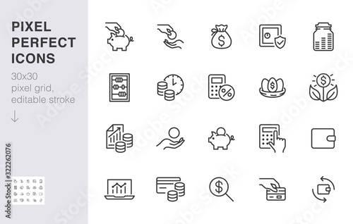 Photo Money income line icon set
