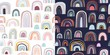 Childish seamless patterns with rainbows, decorative design, pastel colors, two different backgrounds