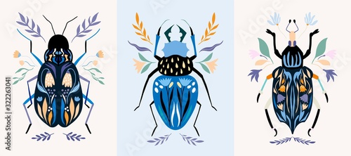 Insect cards/poster/banner set with decorative detailed bugs Fototapet